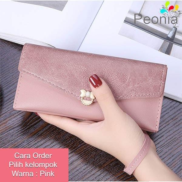 Peonia - dompet wanita panjang hp import - korea style - flora lg - pink