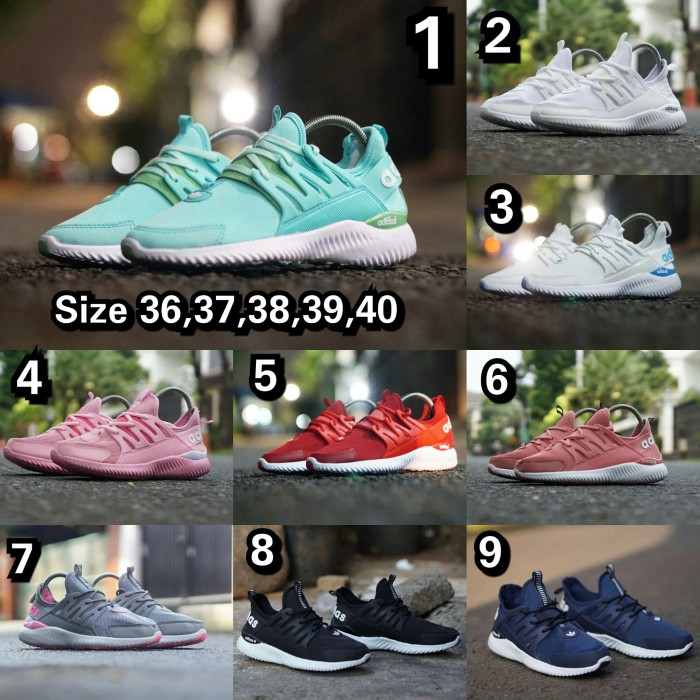 sepatu sneakers casual running adidas alphabounce tubular cewek women - Hitam Putih, 40