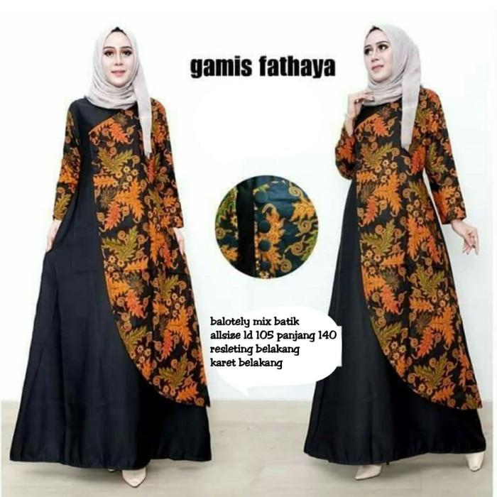 Baju Gamis Batik, BajuGamisFathayaDressGamisBatikKombiBalotelliHitamMurah, Baju Gamis Batik