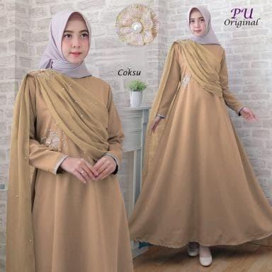 Jual 5943 Baju muslim terbaru gamis coksu pearl dress pesta muslimah ... 55d2bf99f1