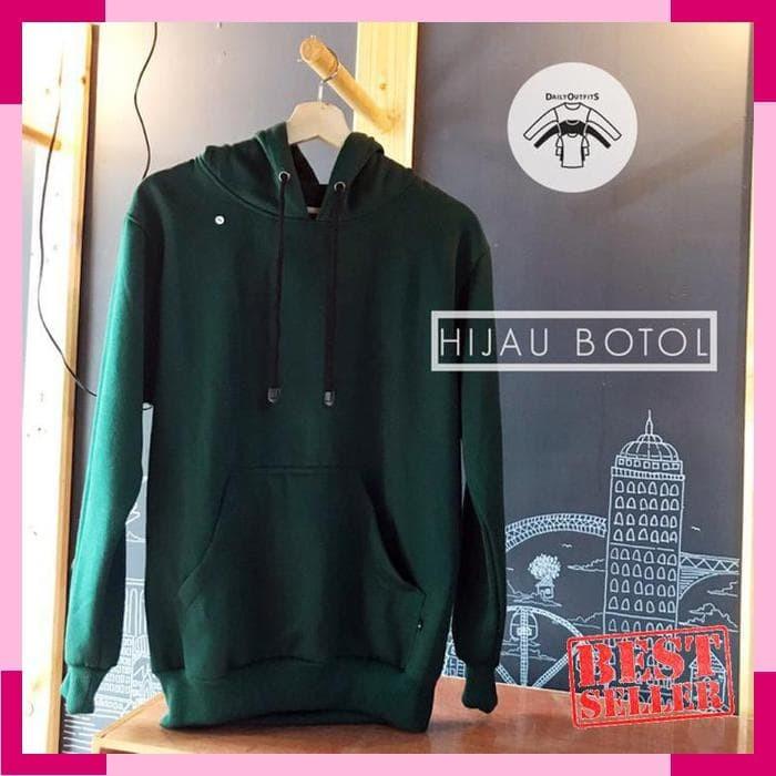 Jual Jaket Sweater Polos Hoodie Jumper Fleece Hijau Botol - Premium ... 886fc32b40