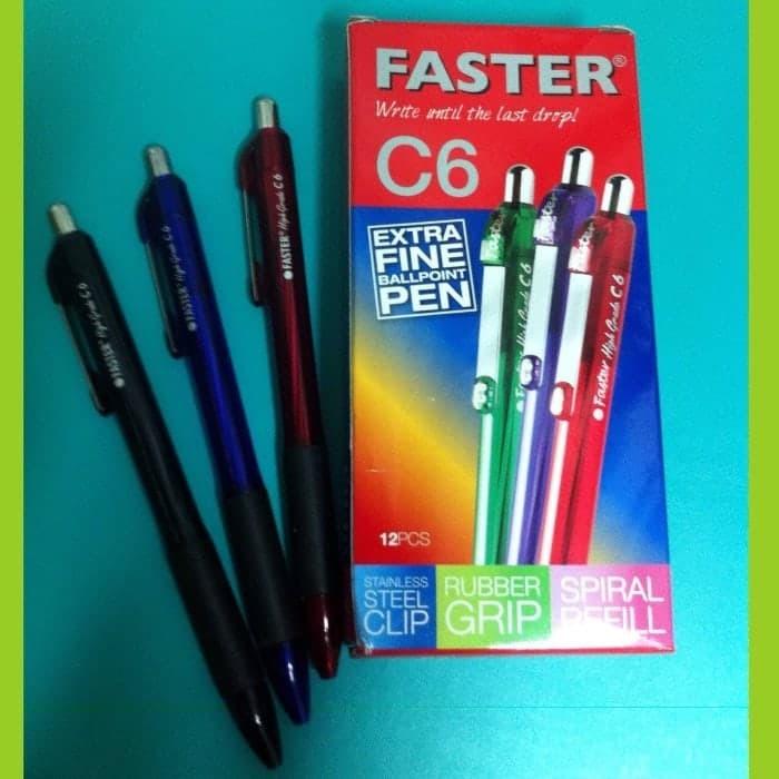 Ballpoint Faster C-600/ Pulpen Faster C6 Warna Tinta Hitam Isi 12 pcs