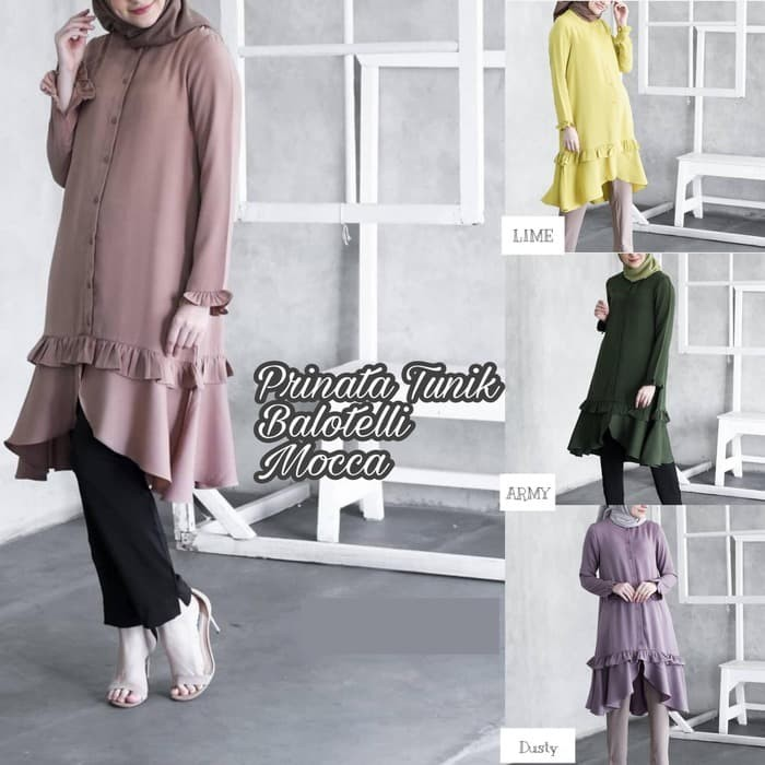 Baju kancing depan Blouse murah Baju muslim wanita Prinata tunik 56 a136393b9c