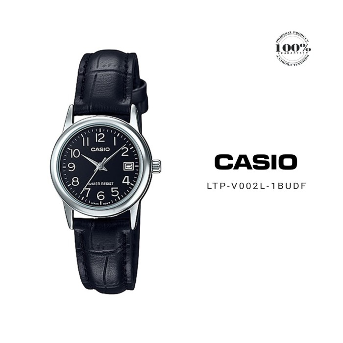 harga Casio analog jam tangan wanita strap kulit hitam ltp-v002l-1b original Tokopedia.com