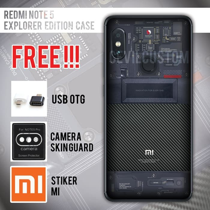 on sale 1fce9 08d95 Jual xiaomi redmi note 5 pro custom mi 8 explorer edition case - Anticrack  - Kota Bandung - Cevil Custom Case | Tokopedia