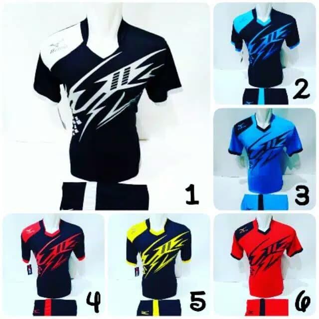 Baju Olahraga Jersey Bola Kaos Setelan Futsal   Volly Mizuno - Biru Muda 2dab11245e