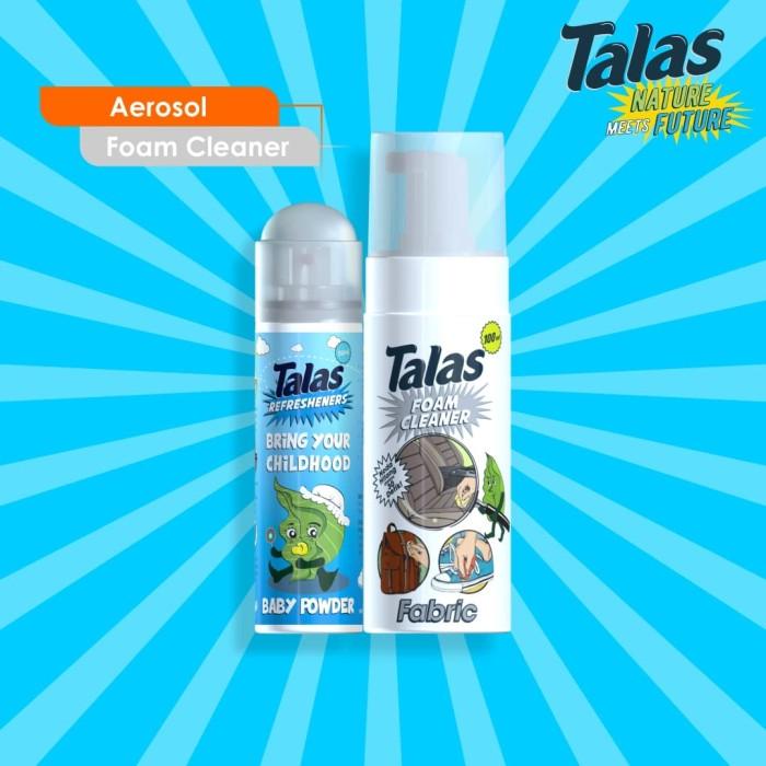 Talas Foam Cleaner Fabric (Pembersih)  & Talas Refreshener Aerosol Baby Powder (Aerosol) - Blanja.com