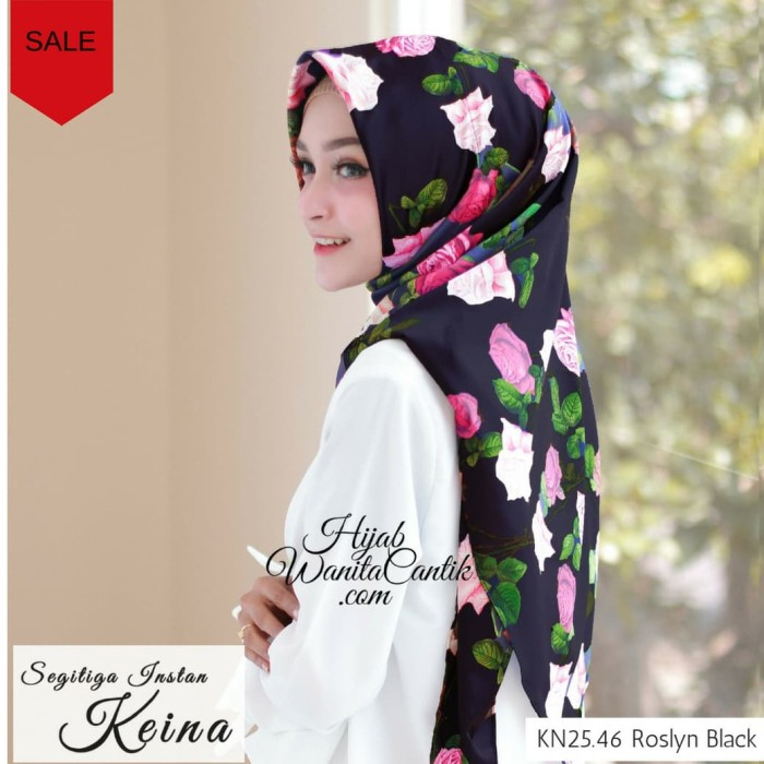 Kerudung instan hijab jilbab segitiga instan keina motif bunga pink - roslyn black
