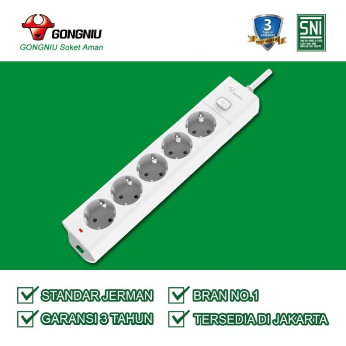 Gongniu stop kontak 5 lubang single switch gnid g1050 (1.5 meter)