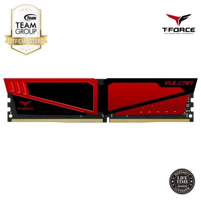 Foto Produk TEAMGROUP T-Force Vulcan Memory 2x8GB PC 2400 DDR4- Red dari Teamgroup Official Store