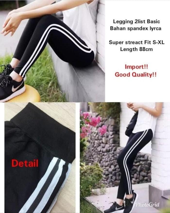 Jual Celana Legging 2 List Putih A36ab Hitam Jakarta Pusat Boutiqueayra249 Tokopedia