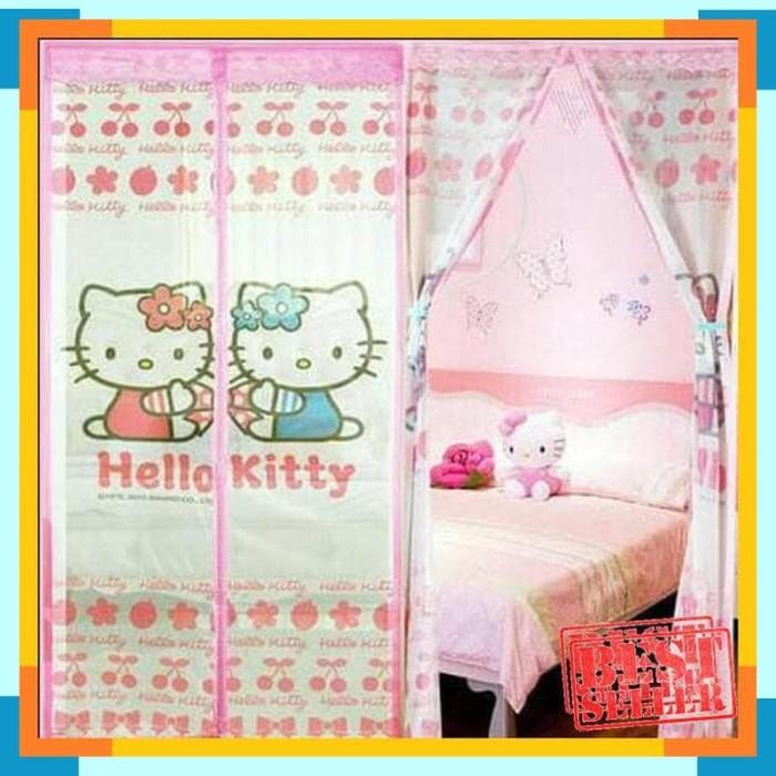 Gambar Sofa Ruang Tamu Hello Kitty  jual tirai pintu magnet anti nyamuk kelambu gorden motif hello kitty kota surabaya my olshop grosir tokopedia