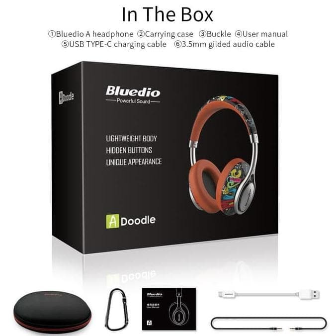 Bluedio Air A Stylish Wireless Bluetooth Headphones with Mic - HITAM