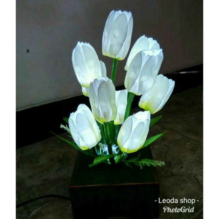 Jual Lm10t Lampu Meja Bunga Tulip Putih 10 Tangkai Bisa Request Warnalain Kota Surakarta Leoda Shop Tokopedia