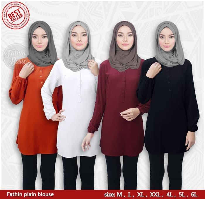 Blus muslim polos tunik baju atasan wanita blouse jumbo all size Cus.