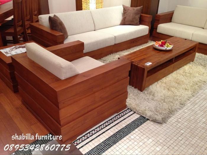 Jual Kursi Meja Tamu Minimalis Sofa Box Kayu Jati Jepara Busa Kab