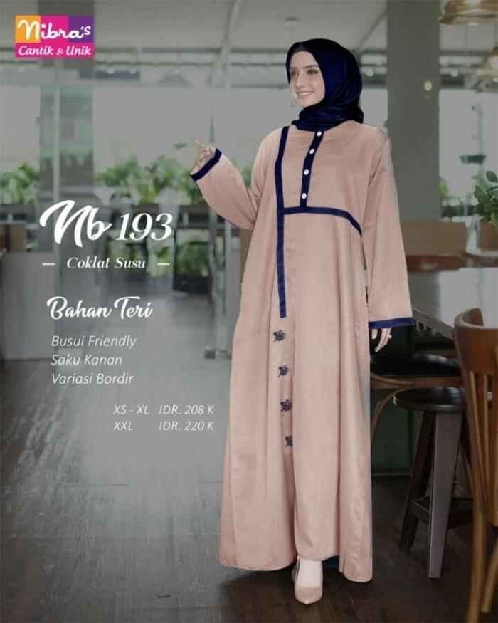 Jual Baju Gamis Nibras Nb 193 Warna Coklat Susu Bahan Teri Busui Bordir Kota Tangerang Selatan Hibban Online Shop Tokopedia
