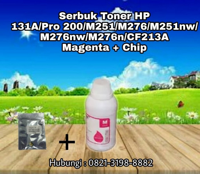 Serbuk Toner HP 131A Pro 200 M251 M276 M251nw CF213A Magenta + Chip