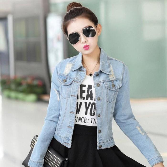 Jual Jaket Denim Jeans Wanita Korea Terbaru - Cheryl Size S M ... 28cbe6a448