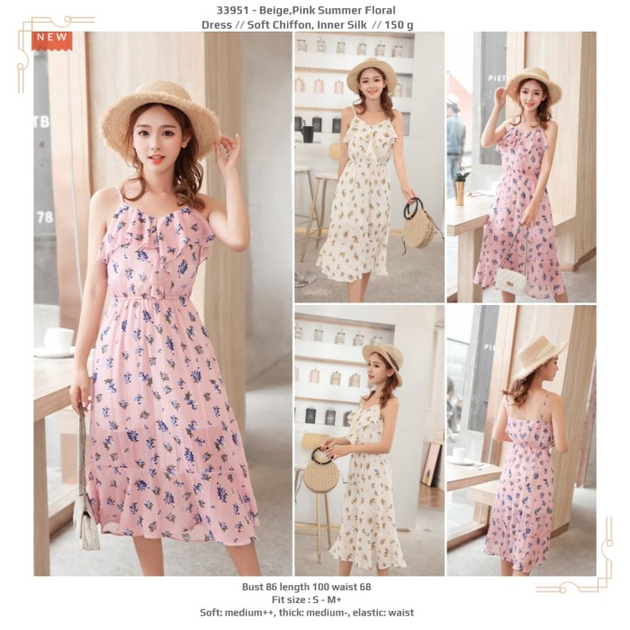 63fa308fba4c2 Jual dress motif wanita, dress korea, soft chiffon,floral dress,krem ...