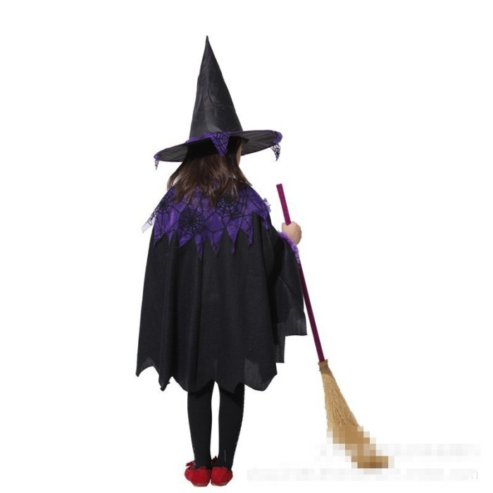 Kostum Cosplay Halloween Bentuk Dress Penyihir Warna Ungu untuk Anak