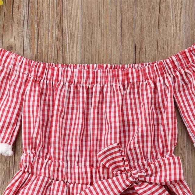 Dress untuk bayi perempua merah kotak kotak dengan lehe Diskon