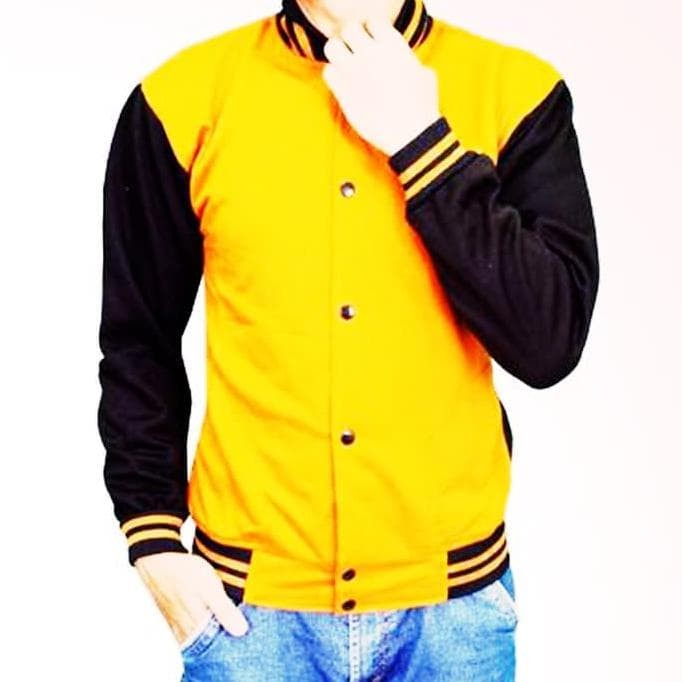 1344ec254 Best Collection JAKET BASEBALL KUNING HITAM! SWEATER PRIA WANITA MURAH