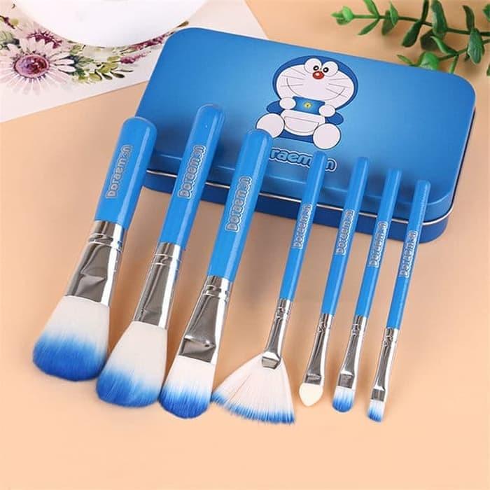 #Set Makeup Brush KUAS DORAEMON BRUSH KALENG 7IN1 /MAKE UP BRUSH /KUAS