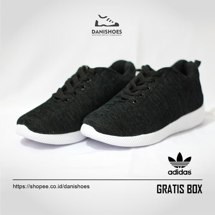 Jual Sepatu Sekolah Hitam Sneakers Adidas Olahraga Running Wanita