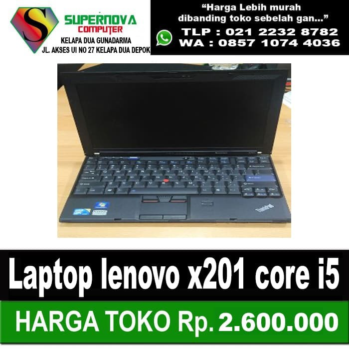 Foto Produk Laptop lenovo x201 core i5 2,5ghz ram 4gb hdd 320gb led 12 inc no dvd dari Supernova Computer Ariet