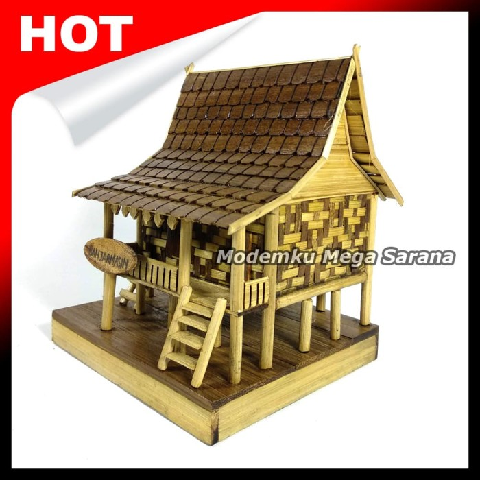 harga Miniatur rumah adat banjar / rumah baanjung dari bambu - 20x13x15cm Tokopedia.com