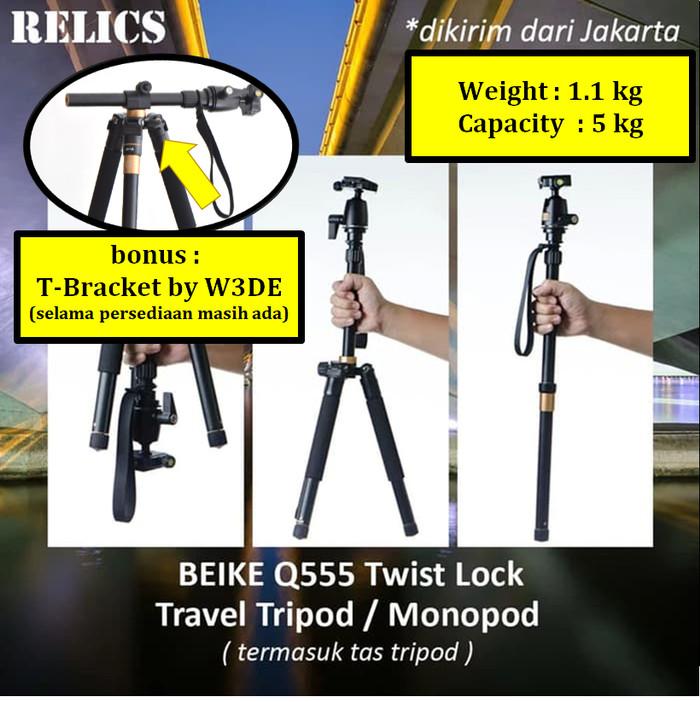 Foto Produk Portable Travel Tripod Monopod Beike Q555 Twist Lock dari Relics Store