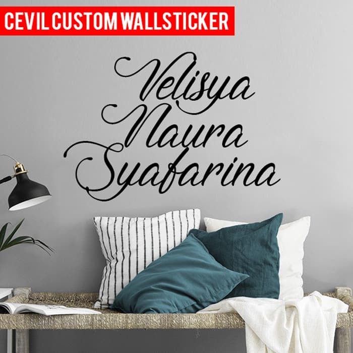 jual stiker dinding custom / wall sticker custom nama / tulsian - 30