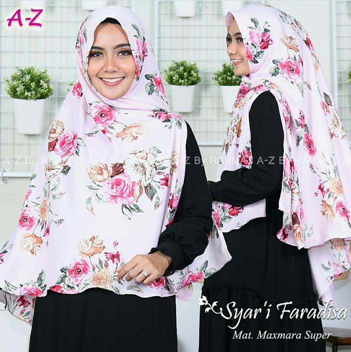 Khimar motif bunga. jilbab rahmat a-z. kerudung maxmara syari. hijab