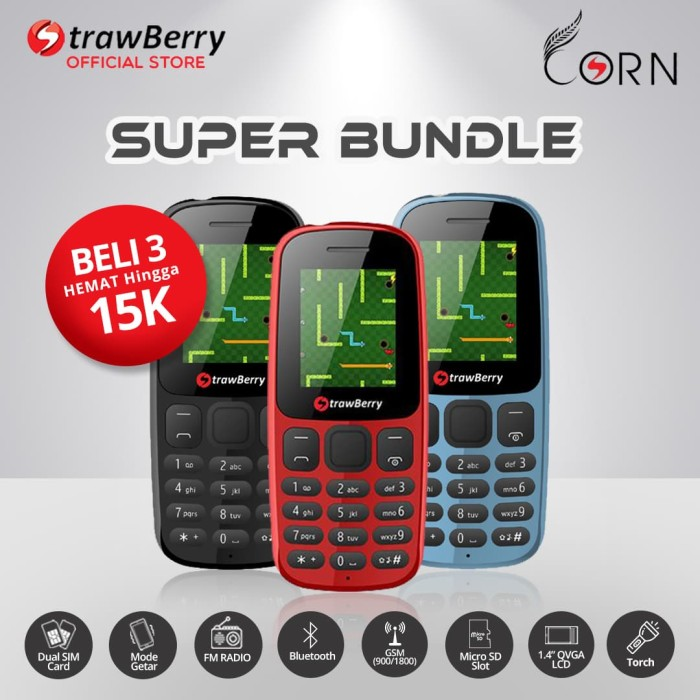 harga Strawberry corn - paket bundle 3 / handphone candybar / bluetooth Tokopedia.com