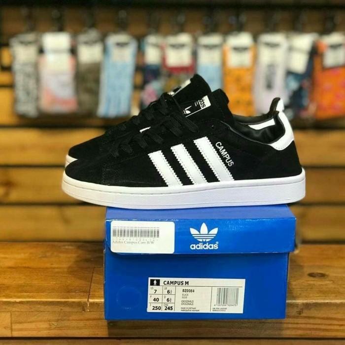 Jual Sepatu Adidas Campus Core Black White Suede Original Premium