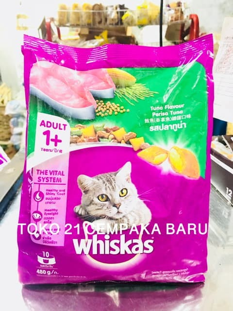 ... Whiskas Adult 1 Rasa TUNA FLAVOUR 480 gr Makanan Kucing Murah 480gr