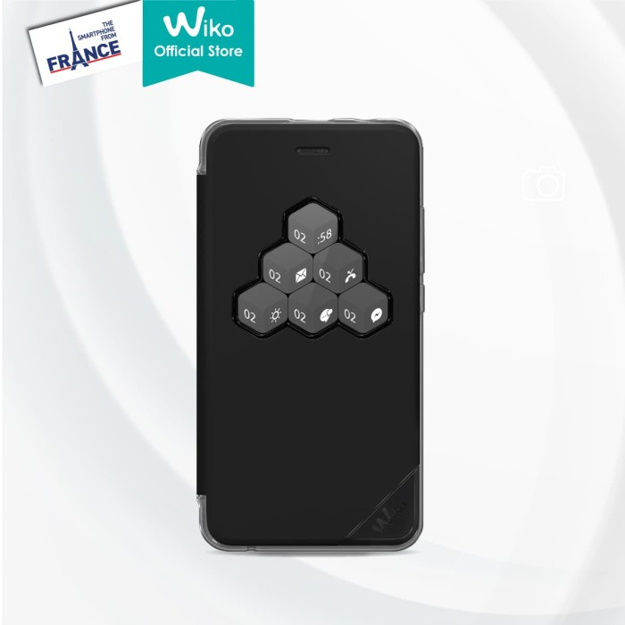 Wiko harry smart folio wicube - black - hitam