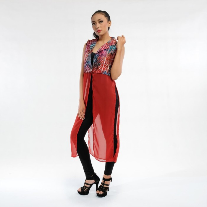 harga Batik pria tampan - long vest komb sifon abs sunset broken chevron - maroon xl Tokopedia.com