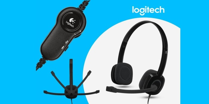 Logitech H151 Stereo Headset With Mic Headphone Earphone ORIGINAL - Hitam