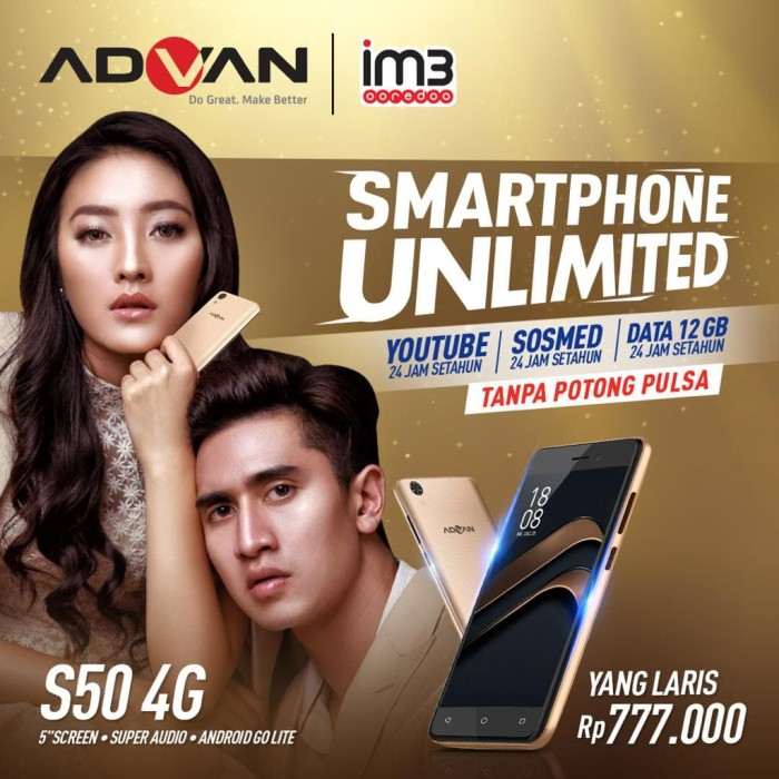 harga Flash sale advan s50 4g unlimited indosat free sd card v-gen 16 gb - emas Tokopedia.com