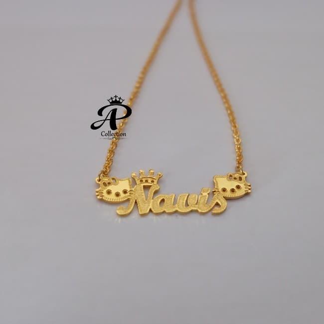 Foto Produk Kalung Nama berlapis emas 24 Karat cetak nama karakter suka suka dari Melintu Shop