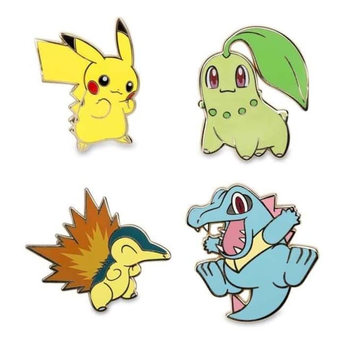 b1069ef8 Jual Pokemon Johto Metal Pin Set Pikachu Chikorita Cyndaquil Limited ...