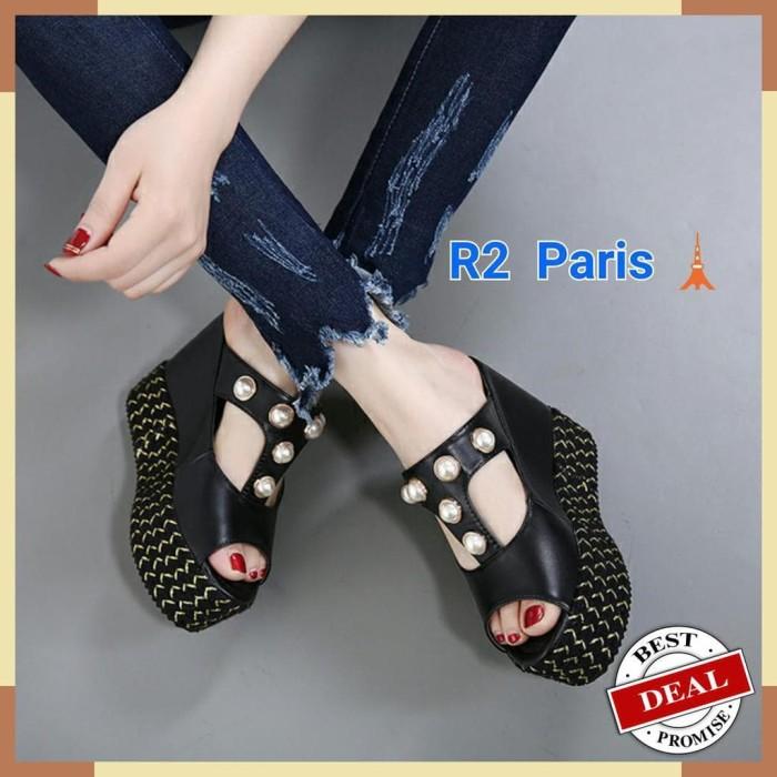 Dijual Sandal Wedges Wanita Straps Mutiara Hak 12cm Albreda Hitam R2