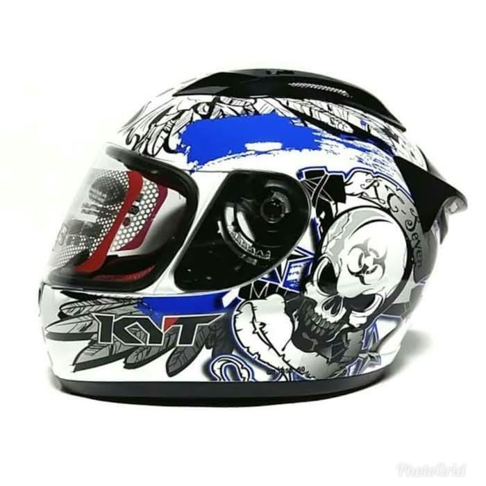 harga Helm kyt rc seven rc 7 black blue full face fullface motif Tokopedia.com