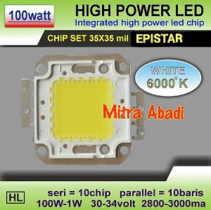 HPL 100W EPISTAR White Putih 6000K High Power LED 1W Berkualitas