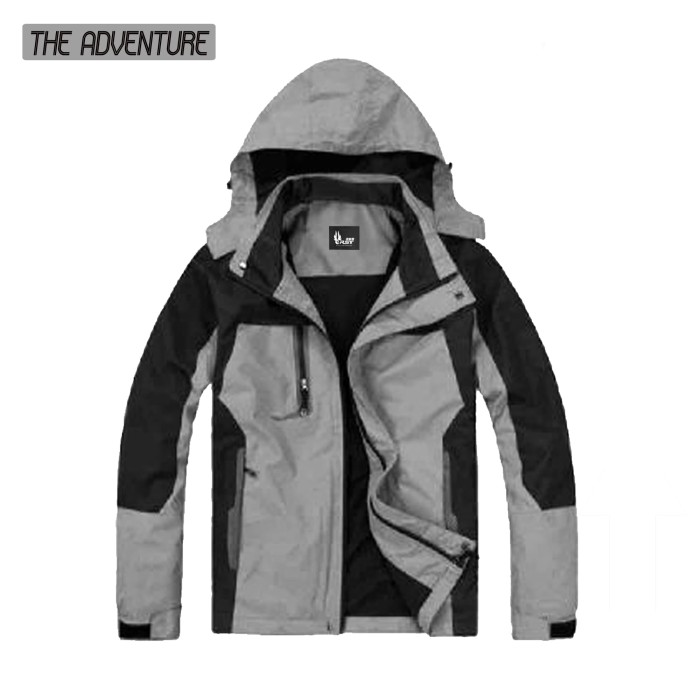jaket adventure water proof fashion pria terbaru - Abu-abu Muda, XL