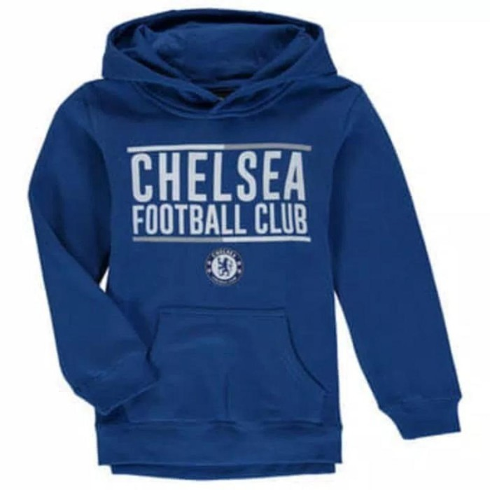 Chelsea FC Official Football Gift Mens Fleece Graphic Hoody Blue