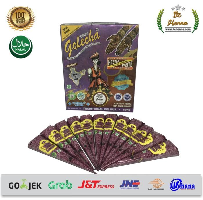 Golecha henna ungu henna cone - 1 box isi 12pcs warna ungu .