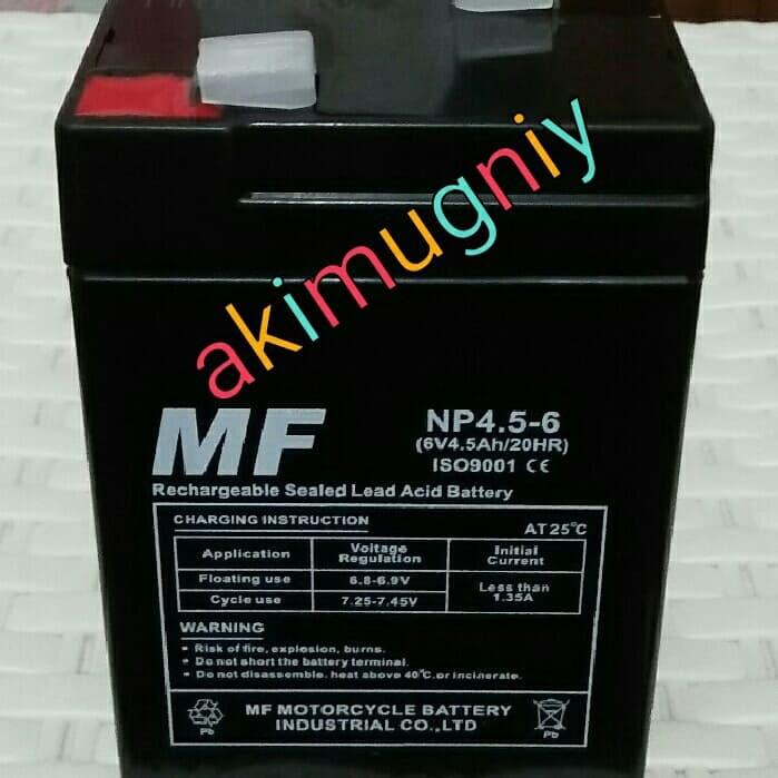harga Aki accu baterai kering vrla mf 6v 4.5ah / 4.5ah 6v mainan Tokopedia.com